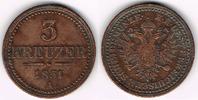 Haus Habsburg - Österreich 3 Kreuzer Franz Joseph I., 3 Kreuzer 1851 A, Erhaltung siehe Scan!