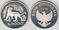 Indonesien 2000 Rupiah Indonesien, 2000 Rupiah, Tiermotiv Javanischer Tiger 28,28g 925er Silber