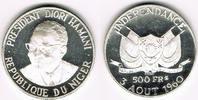 """Niger 500 Francs Niger, Silbergedenkmünze """"Unabhängigkeit - Präsident Diori Hamani"""", si"""