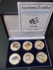 """Silbermünzenset 6 Münzen """"Fische"""", teilcoloriert mit Box / Zertifikat"""