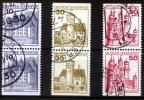 BRD 6 Werte, 10 bis 50 Pfennig BRD, Mi-Nr. 913, 914, 916 C+D Freimarken:Burgen und Schlösser, Paare