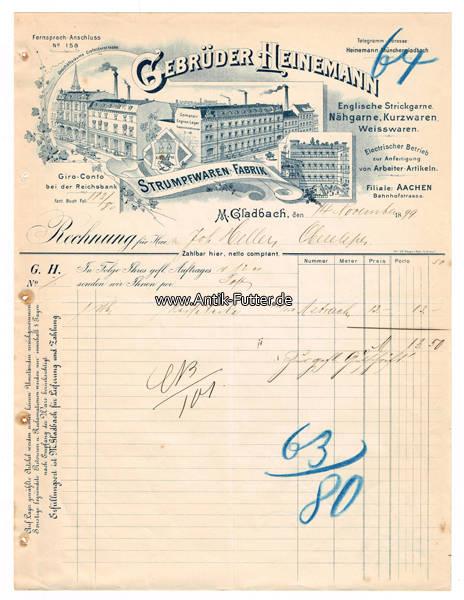 1899 m gladbach m nchengladbach rechnung briefkopf. Black Bedroom Furniture Sets. Home Design Ideas