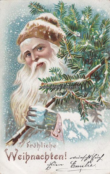 1904 deutsches reich ansichtskarte postkarte fr hliche weihnachten nikolaus mit tannenzweig 2. Black Bedroom Furniture Sets. Home Design Ideas