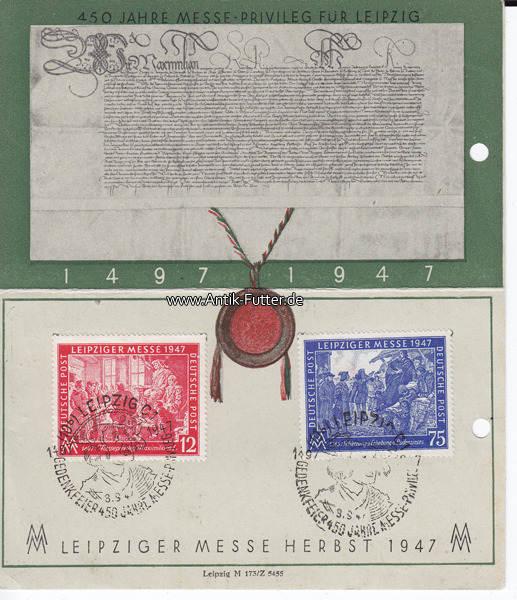 1947 Leipzig Gedenkkarteleipziger Messe Herbst 1947mit Briefmarke