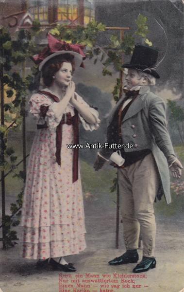 1910 Deutsches Reich Ansichtskarte Postkarte Frau Und Mann Mit Hut 2