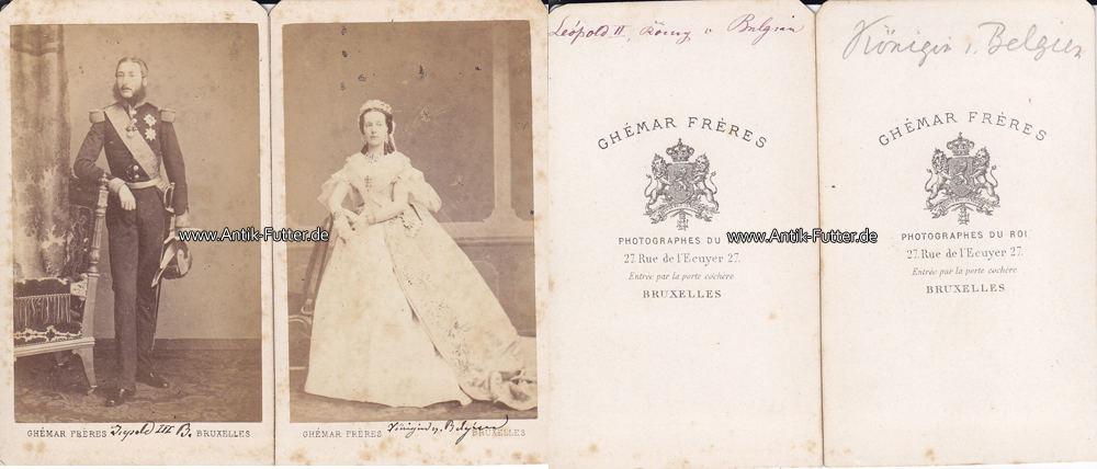 Um 1865 Belgien Carte De Visite CdV Kabinettfoto Konig Franz Leopold II Mit Konigin 3