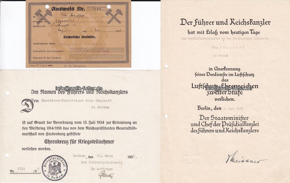 1927 - 1939 Bochum 1 Ausweis, 3 Urkunden, /Ausweis Technische ...