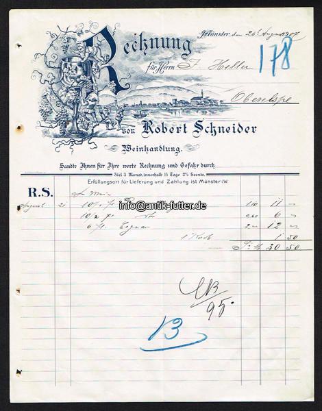 1907 m nster rechnung weinhandlung robert schneider 2. Black Bedroom Furniture Sets. Home Design Ideas