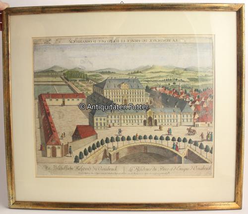 1780 Osnabrück Altkolorierter Kupferstich Guckkasten Teilansicht
