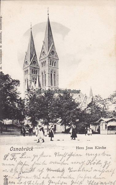 1903 Osnabrück Ansichtskarte Postkarte Osnabrück Herz Jesu