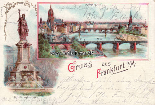 1907 frankfurt a m litho gruss aus frankfurt a m. Black Bedroom Furniture Sets. Home Design Ideas