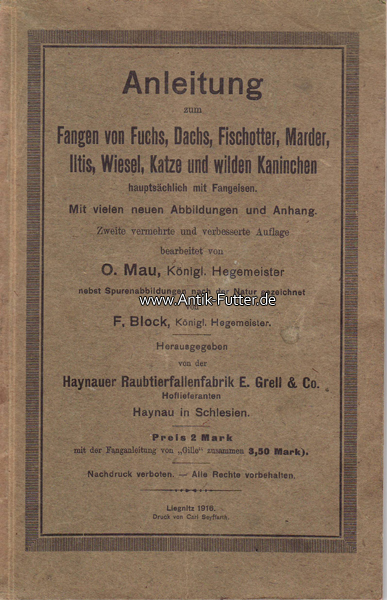 1916 deutsches reich o mau f block anleitung zum fangen von fuchs dachs fischotter marder. Black Bedroom Furniture Sets. Home Design Ideas