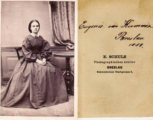 1864 Preussen Carte De Visite CdV Kabinettphoto Eugenie Von Kummer Breslau 2 3