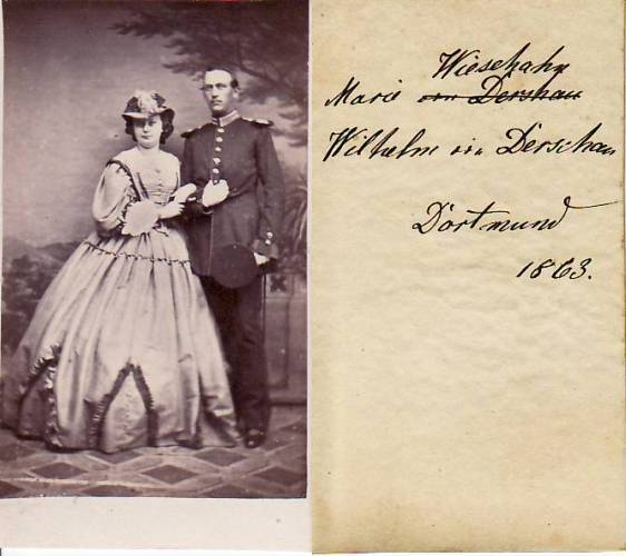 1863 Preussen Dortmund Carte De Visite CdV Kabinettphoto Marie WieschahnWilhelm Von Derschau 2
