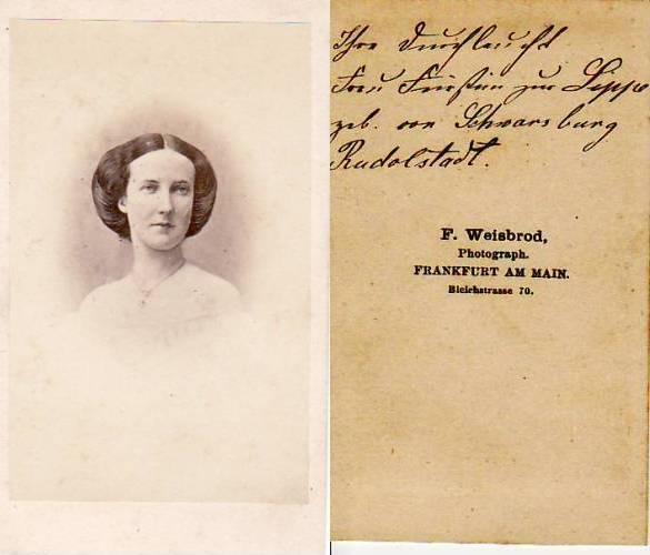 Um 1863 Lippe Detmold Carte De Visite CdV Kabinettphoto Ihre Durchlaucht Frau Furstin Zur 2