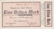 Menden 1 Billion Mark Notgeld der Stadt Menden/Eine Billion Mark/Keller 3516.d.blanco