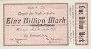 Menden 1 Billion Mark Notgeld der Stadt Menden/Eine Billion Mark/Keller 3516.d.blanco