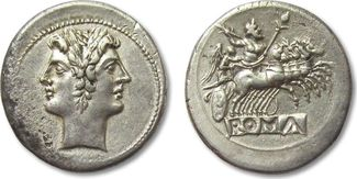 AR quadrigatus / didrachm 225-212 B.C. ROMAN REPUBLIC Anonymous issue, pre-denarius time, Rome EF good quality silver, minor marks and pitting on obverse
