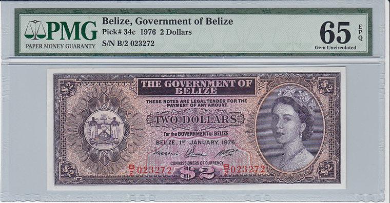 2 Dollars 1976 Belize BELIZE P.34c - 1976 PMG 65 EPQ PMG Graded 65 EPQ GEM UNCIRCULATED