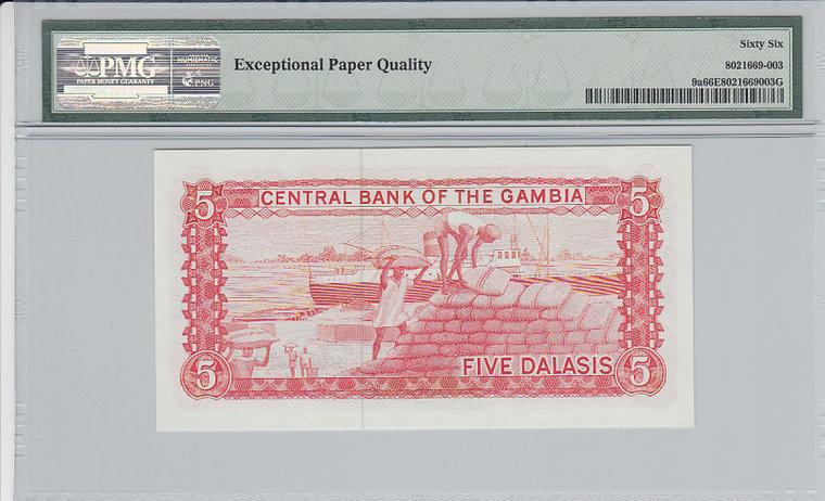 5 Dalasis Gambia GAMBIA P.9a - ND1987-90 PMG 66 EPQ PMG Graded 66 EPQ GEM UNCIRCULATED