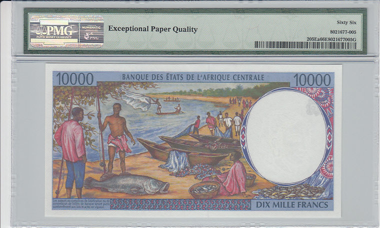 10.000 Francs 1994 Cameroon CENTRAL AFRICAN STATES P.205Ea - 1994 PMG 66 EPQ PMG Graded 66 EPQ GEM UNCIRCULATED