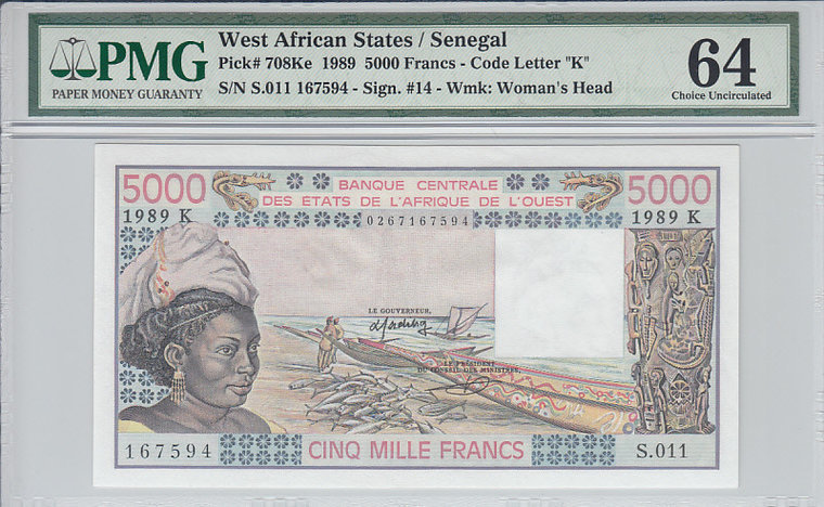 5000 Francs 1989 Senegal WEST AFRICAN STATES P.708Ke - 1989 PMG 64 PMG Graded 64 CHOICE UNCIRCULATED