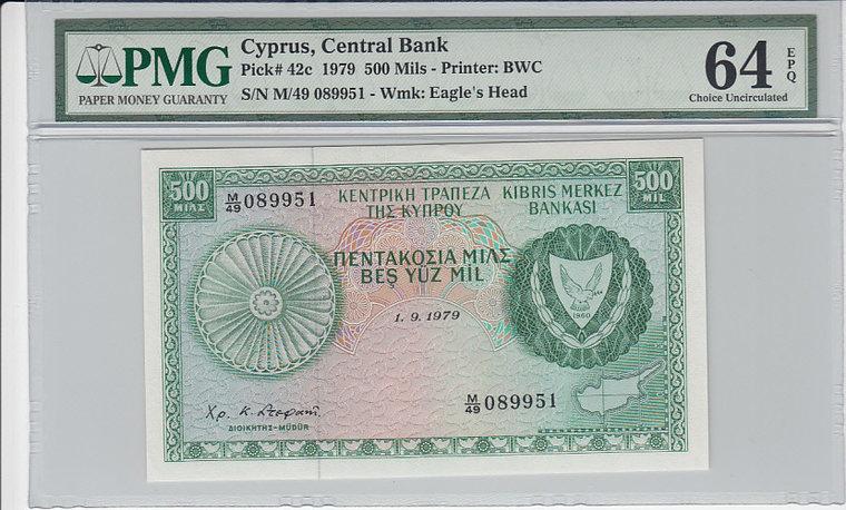 500 Mils 1979 Cyprus CYPRUS P.42c - 1979 PMG 64 EPQ PMG Graded 64 EPQ CHOICE UNCIRCULATED