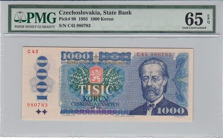 1000 Korun 1985 Czechoslovakia CZECHOSLOVAKIA P.98 - 1985 PMG 65 EPQ PMG Graded 65 EPQ GEM UNCIRCULATED
