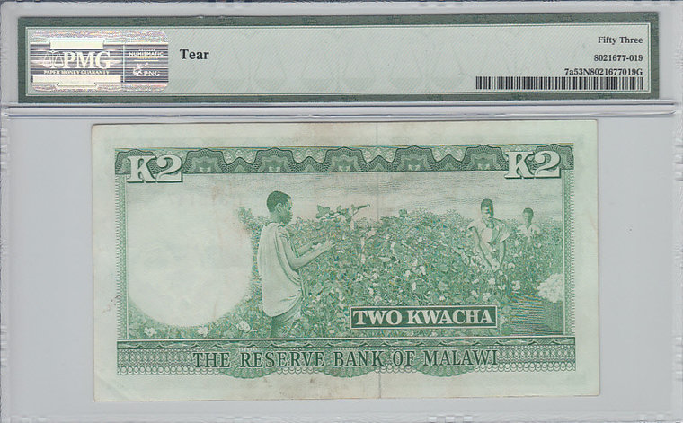 2 Kwacha 1964 Malawi MALAWI P.7a - 1964 PMG 53 NET PMG Graded 53 NET ABOUT UNCIRCULATED