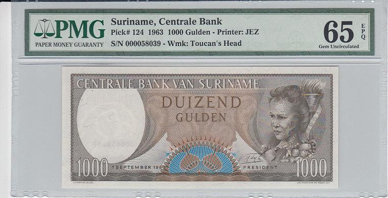 1000 Gulden 1963 Suriname SURINAME P.124 - 1963 PMG 65 EPQ PMG Graded 66 EPQ GEM UNCIRCULATED