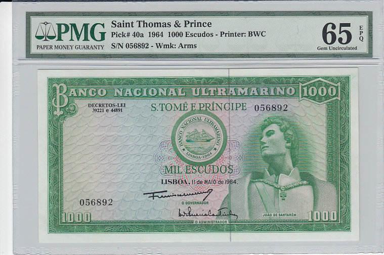 1000 Escudos 1964 ST. THOMAS & PRINCE P.40a - 1964 PMG 65 EPQ PMG Graded 65 EPQ GEM UNCIRCULATED