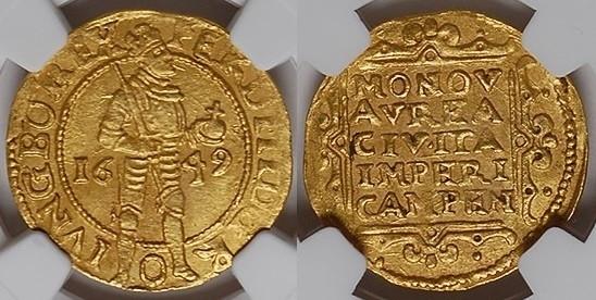 1649 Overijssel KAMPEN, Ducat, 1649 GOLD NGC MS 61 MS 61
