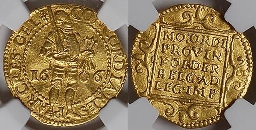 1606 Gelderland GELDERLAND, Ducat, 1606 GOLD NGC AU 58 AU 58