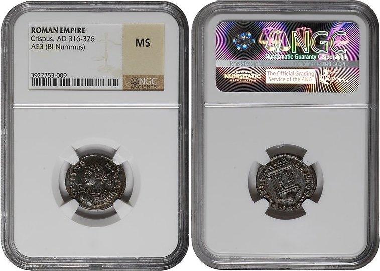 Nummus 323 - 324 AD Imperial CRISPUS, BI , London/ALTAR NGC MS unz