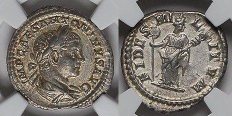 AR Denarius 221 AD Imperial ELAGABALUS, Rome/FIDES NGC AU vz+