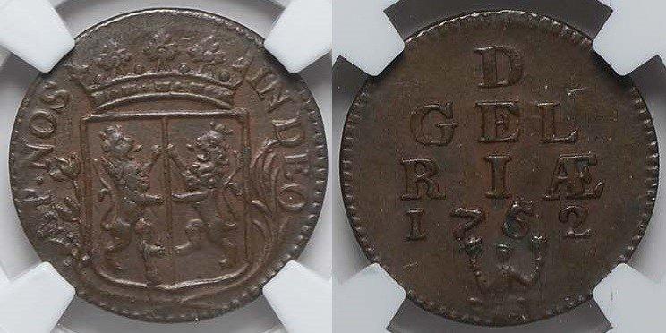 Duit 1752 Gelderland GELDERLAND 1752 NGC MS 62 MS 62