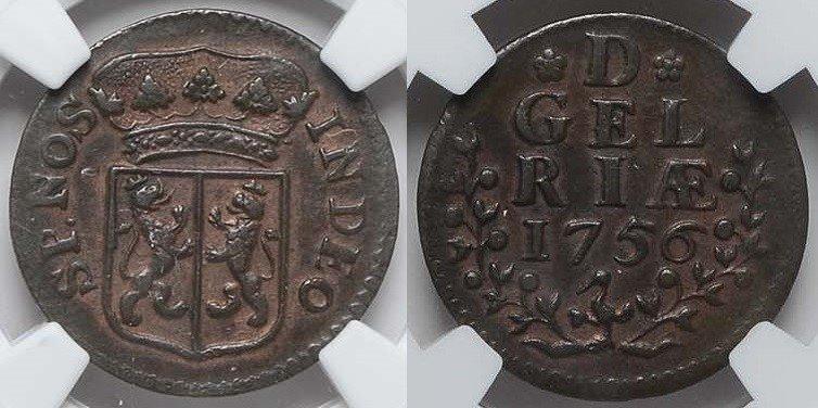 Duit 1756 Gelderland GELDERLAND 1756 NGC AU 53 BN AU 53