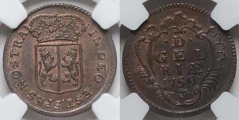 Duit 1759 Gelderland GELDERLAND 1759 NGC MS 62 BN MS 62