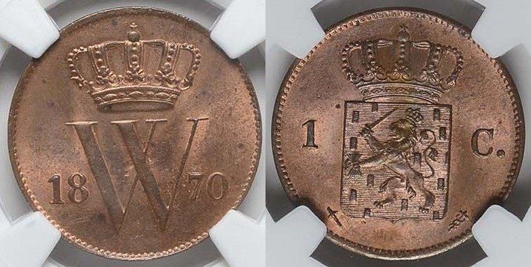 1 Cent 1870 Netherlands NETHERLANDS 1870 NGC MS 64 RB MS 64