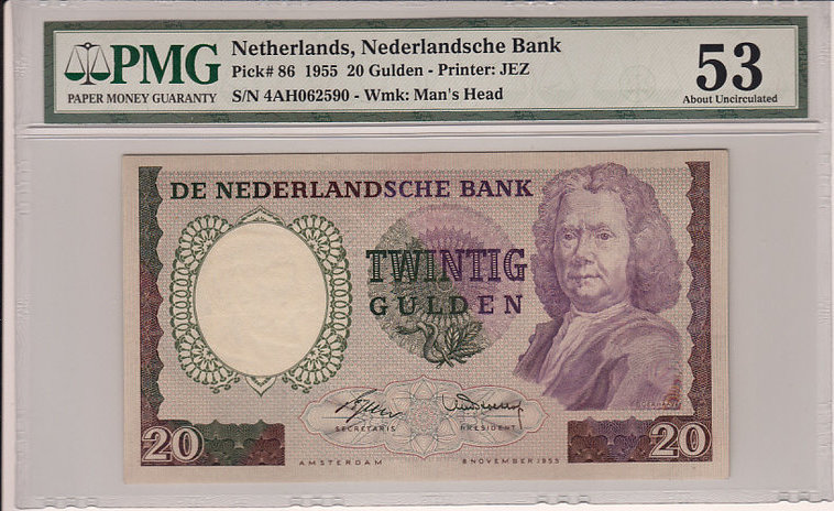 20 Gulden 1955 Netherlands NETHERLANDS P.86 - 1955 PMG 53 PMG Graded 53 ABOUT UNCIRCULATED