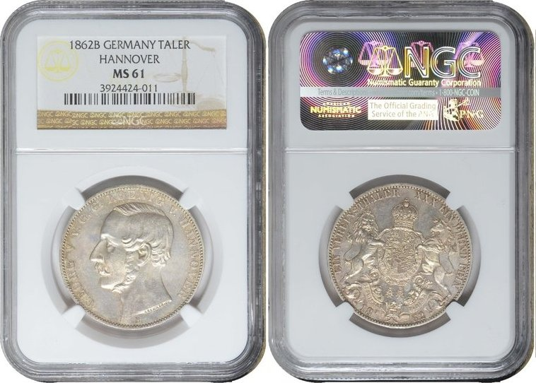 Taler 1862 B Germany before 1871 HANNOVER, Georg V 1862B NGC MS 61 MS 61