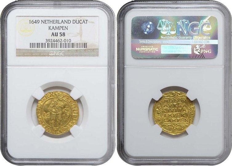 1649 Overijssel KAMPEN, Ducat, 1649 GOLD NGC AU 58 AU 58