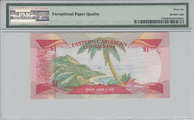 1 Dollar East Caribbean States EAST CARIBBEAN STATES P.17l - ND1985-88 PMG 66 EPQ PMG Graded 66 EPQ GEM UNCIRCULATED