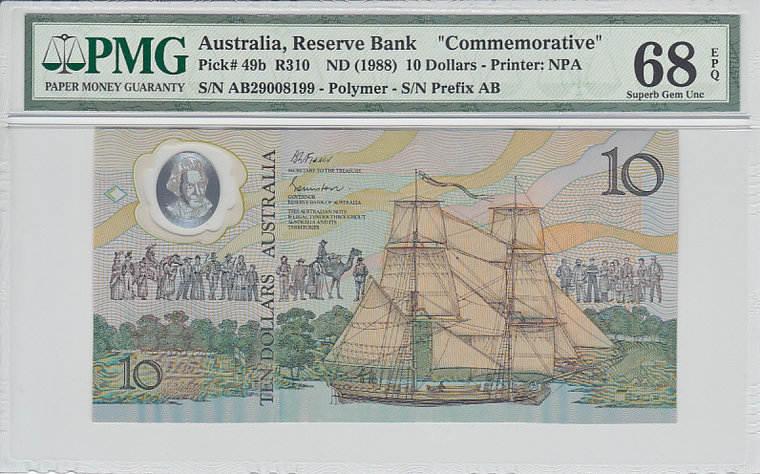 10 Dollars Australia AUSTRALIA P.49b - ND1988 PMG 68 EPQ PMG Graded 68 EPQ SUPERB GEM UNCIRCULATED