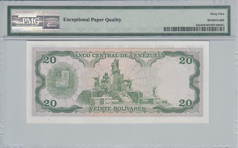 20 Bolivares 1981 Venezuela VENEZUELA P.63a - 1981 PMG 65 EPQ PMG Graded 65 EPQ GEM UNCIRCULATED