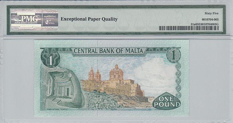 1 Lira 1967 Malta MALTA P.31a - 1967 (ND1973) PMG 65 EPQ PMG Graded 65 EPQ GEM UNCIRCULATED