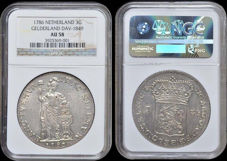 3 Gulden 1786 Gelderland GELDERLAND 1786 NGC AU 58 AU 58