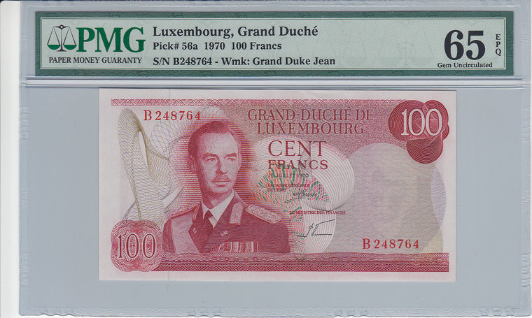 100 Francs 1970 LUXEMBOURG P.56a - 1970 PMG 65 EPQ PMG Graded 65 EPQ GEM UNCIRCULATED