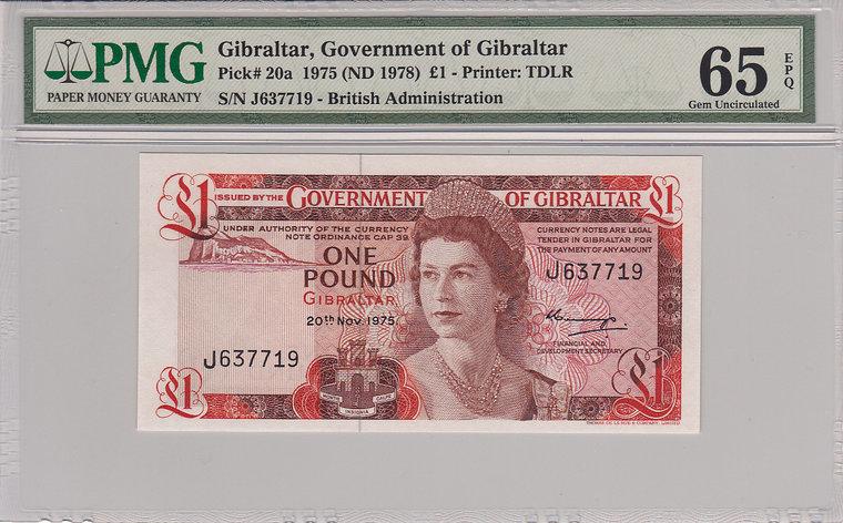 1 Pound 1975 Gibraltar GIBRALTAR P.20a - 1975 PMG 65 EPQ PMG Graded 65 EPQ GEM UNCIRCULATED