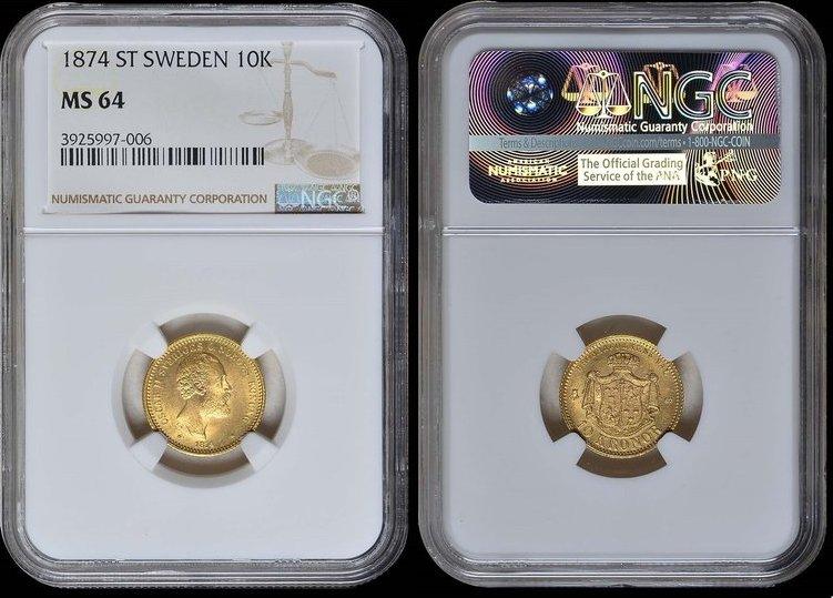 10 Kronor 1874 ST Sweden SWEDEN, Oscar II 1874 ST GOLD NGC MS 64 MS 64